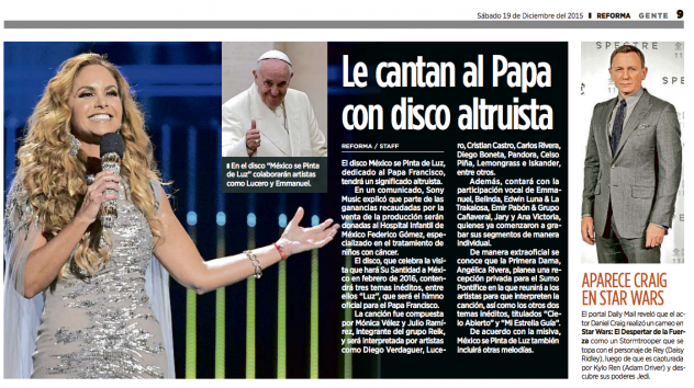 Lucero le canta al Papa Francisco