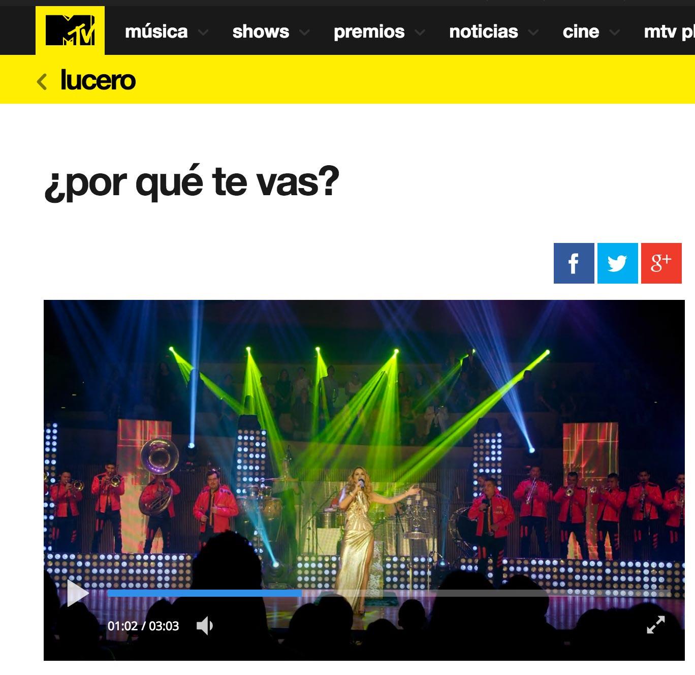 Lucero en MTV Latinoamerica con Enamorada con Banda