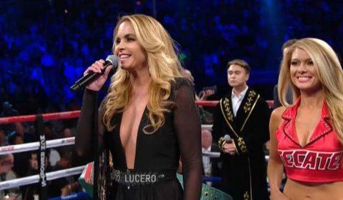 Lucero canta el himno nacional mexicano en la pelea del Canelo en las Vegas