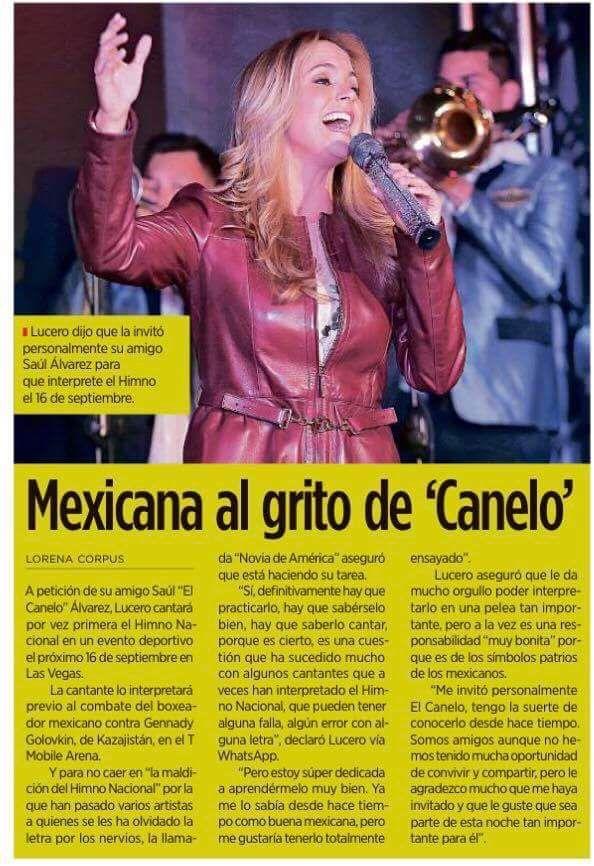 Lucero cantará el himno nacional en la pelea del Canelo