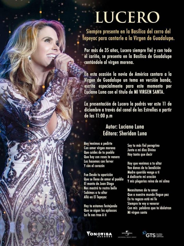 Lucero cantará Mi Virgen Santa.