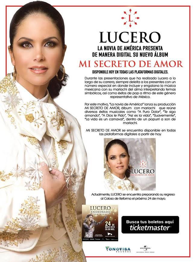 Mi Secreto De Amor fue el álbum que Lucero lanzó con mariachi durante 2011, y hoy se relanza de manera digital mundialmente.